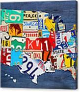 License Plate Map Of The United States - Small On Blue Canvas Print