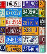 License Plates Of The Usa - Our Colorful American History Canvas Print