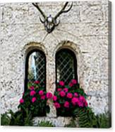 Lichtenstein Castle Windows Wall And Antlers - Germany Canvas Print
