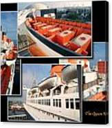 Life Boats Collage Queen Mary Ocean Liner Long Beach Ca Canvas Print