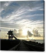 Life Guard Tower And Jetty At Dawn 9-27-14 By Julianne Felton Canvas Print