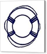 Life Preserver In Navy Blue And White Canvas Print