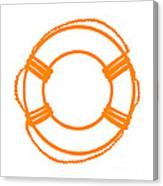 Life Preserver In Orange And White Canvas Print
