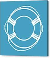Life Preserver In White And Turquoise Blue Canvas Print