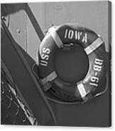 Life Ring Uss Iowa Battleship Bw Canvas Print