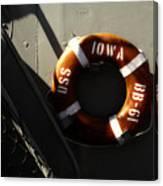 Life Ring Uss Iowa Battleship Sepia Canvas Print