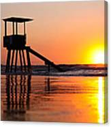 Lifeguard Stand In A Texas Sunrise Canvas Print