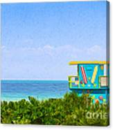Lifeguard Station In Miami Canvas Print