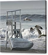 Lifeguard Station With Flying Gulls At A Lake Huron Beach Canvas Print