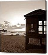Lifeguard Tower Sunrise In Sepia Canvas Print