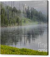 Lifting Fog On The Yellowstone River Canvas Print