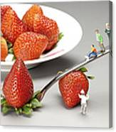 Lifting Strawberry By A Fork Lever Food Physics Canvas Print