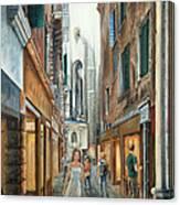 Light From San Salvador Merceria Del Capitello San Marco Venezia Canvas Print