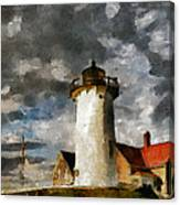 Light House In A Storm Canvas Print