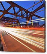 Light Trails On Broadway Bridge Canvas Print