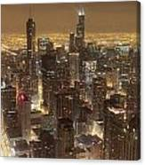Lighted Downtown Canvas Print