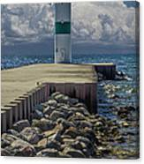 Lighthead At The End Of The Pier In Pentwater Michigan Canvas Print