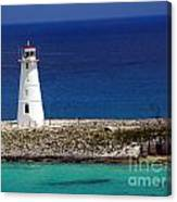 Lighthouse Along Coast Of Paradise Island Bahamas Canvas Print