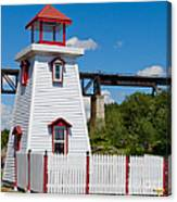 Lighthouse And Bridge Canvas Print