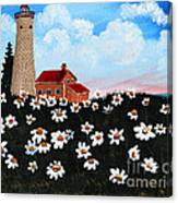 Lighthouse And Daisies Canvas Print
