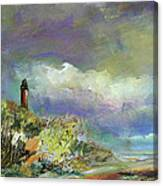 Lighthouse And Fisherman Canvas Print