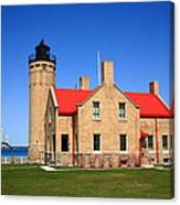 Lighthouse And Mackinac Bridge Canvas Print