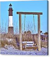 Lighthouse And Swing Canvas Print