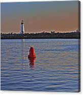 Lighthouse At Harbor Canvas Print