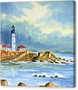Lighthouse At Portland Head Maine Canvas Print