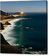 Lighthouse At The Coast, Moonlight Canvas Print