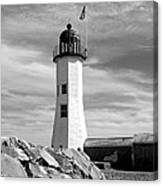 Lighthouse Black And White Canvas Print