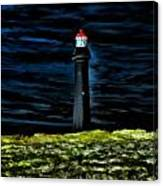 Lighthouse In The Night Canvas Print