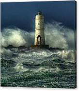 Lighthouse In The Storm Canvas Print