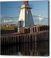 Lighthouse On A Channel By Cascumpec Bay On Prince Edward Island No. 095 Canvas Print