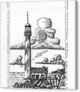 Lighthouse On A Cliff Pointillist Canvas Print