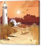 Lighthouse On The Coast Canvas Print
