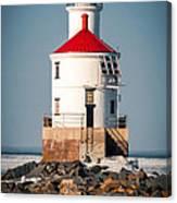 Lighthouse On The Rocks Canvas Print