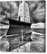 Lighthouse Reflection Black And White Canvas Print