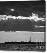 Lighthouse Sun Rays Bw Canvas Print