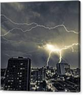 Lightning Over Downtown Yxe Canvas Print