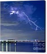 Lightning Over Safety Harbor Pier Canvas Print