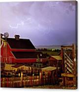 Lightning Strikes Over The Farm Canvas Print