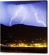 Lightning Striking Over Ibm Boulder Co 3 Canvas Print