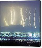 Lightning Striking Over Phoenix Arizona Canvas Print