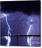 Lightning Over Tampa Causeway Canvas Print