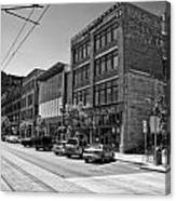 Light Rail Line And Old Downtown Buildings_bwhdr Canvas Print