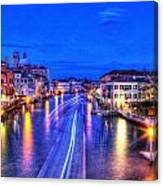 Lights On The Canal Canvas Print