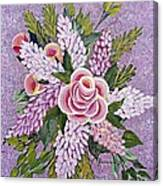 Lilac And Rose Bouquet Canvas Print