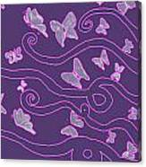 Lilac Silhouette Of Woman With Butterflies Canvas Print