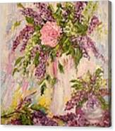 Lilacs And Peony Canvas Print